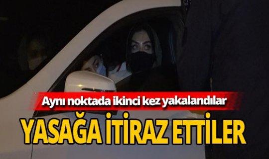 Kısıtlamada otomobille gezen 3 Suriyeli kadın polise yakalandı