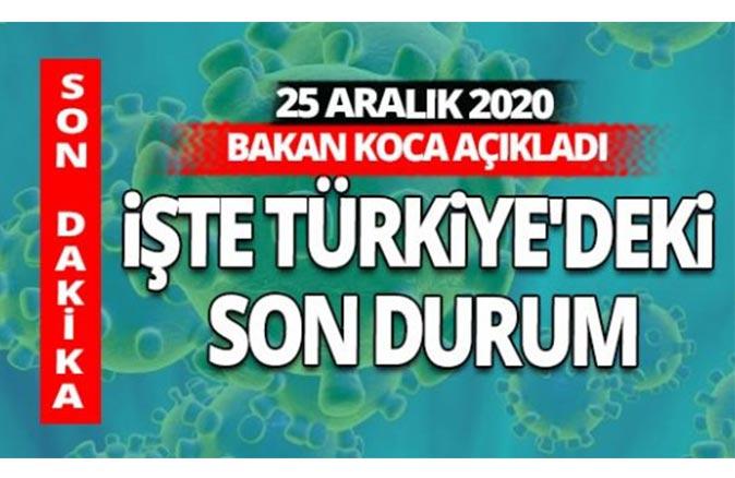 SON DAKİKA! 25 Aralık 2020 koronavirüs tablosu
