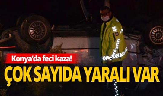 Konya'da minibüs ile otomobil çarpıştı