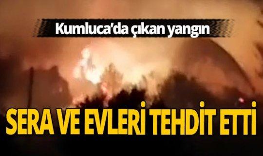 Kumluca'da otluk alanda çıkan yangın sera ve evleri tehdit etti