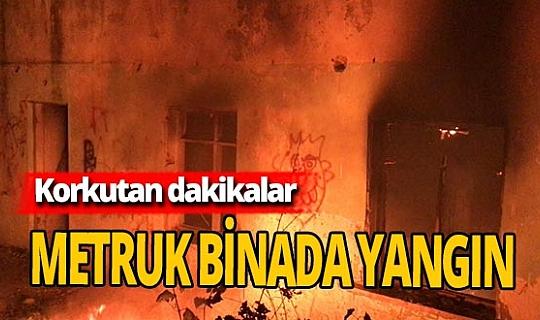 Kuşadası'nda metruk binada çıkan yangın korkuttu