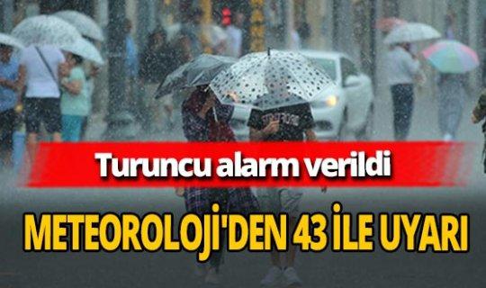 Meteoroloji'den 43 ile şiddetli yağmur uyarısı