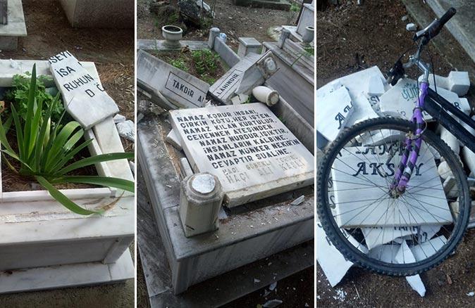 Antalya'da mezarlıklara zarar verip Türk bayraklarını söktü!