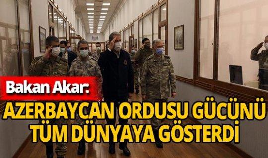 """Milli Savunma Bakanı Hulusi Akar: """"Azerbaycan Ordusu gücünü tüm dünyaya gösterdi"""""""