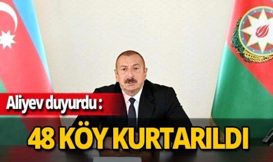 """Son dakika...Azerbaycan Cumhurbaşkanı İlham Aliyev: """"48 köy, 1 kasaba, 8 stratejik öneme sahip nokta işgalden kurtarıldı"""""""