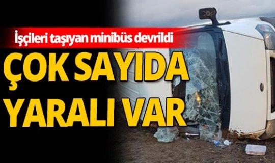 Tekirdağ'da işçileri taşıyan minibüs devrildi