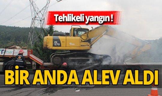 TEM Otoyolu'nda korkutan yangın!