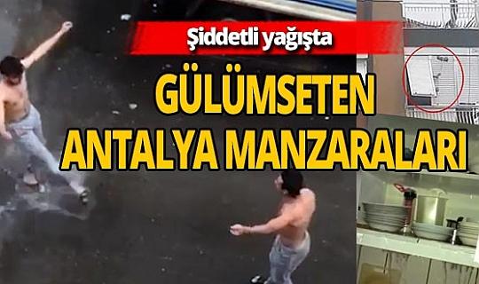 Turuncu alarm' ile uyarılan Antalya'dan ilginç görüntüler
