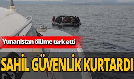 Yunanistan'ın Türk kara sularına ittiği 35 kaçak göçmen kurtarıldı