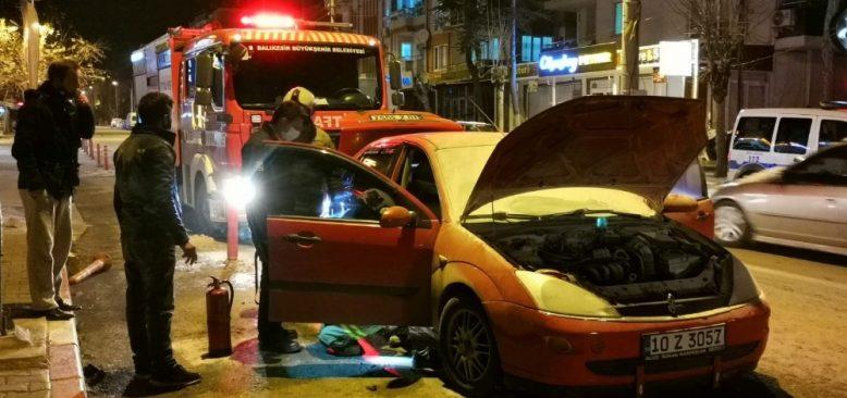 Araç yangını büyük panik oluşturdu