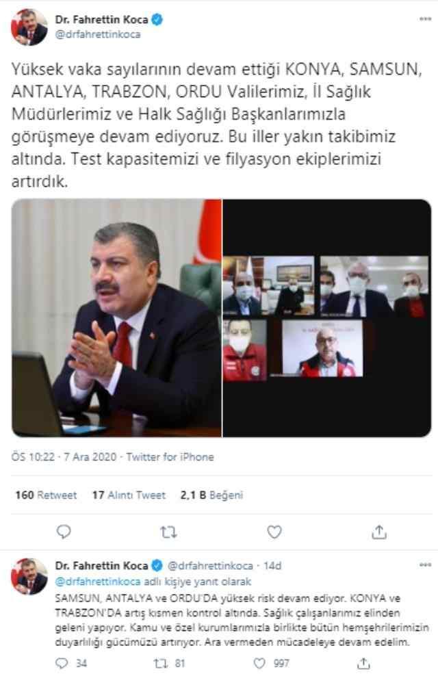 Sağlık Bakanı Fahrettin Koca'nın 7 Aralık 2020 paylaşımı