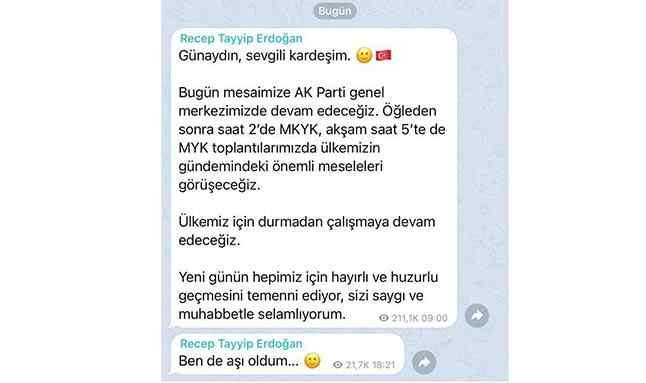 Cumhurbaşkanı Erdoğan, koronavirüs aşısı olduğunu telegramdan duyurdu