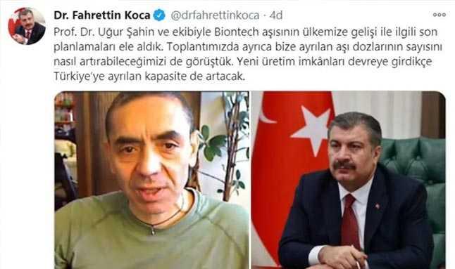 Sağlık Bakanı Fahrettin Koca, Biontech aşısı ile ilgini sosyal medya hesabı üzerinden açıklama yaptı.