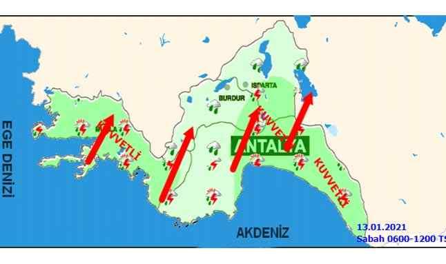 13 Ocak 2021 Antalya hava haritası