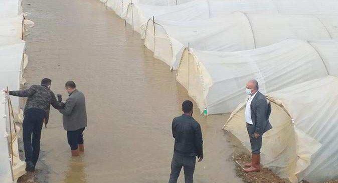 Antalya'da dere taştı, seralar su altında kaldı