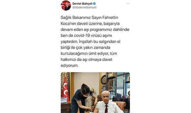 MHP Lideri Devlet Bahçeli de koronavirüs aşısı yaptırdı