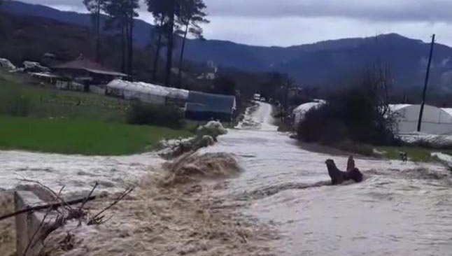Burdur'da dereler taştı, yollar kapandı
