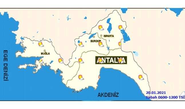 Meteoroloji 4.Bölge Müdürlüğü'nün hava tahmin haritası
