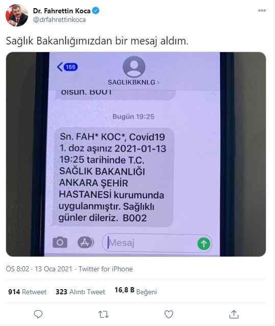 Sağlık Bakanı Fahrettin Koca'nın paylaşımı