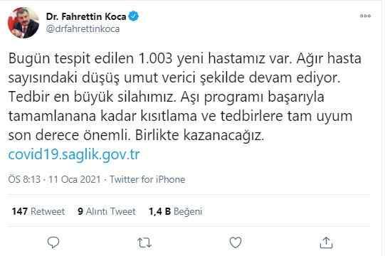 Sağlık Bakanı Fahrettin Koca'nın açıklaması