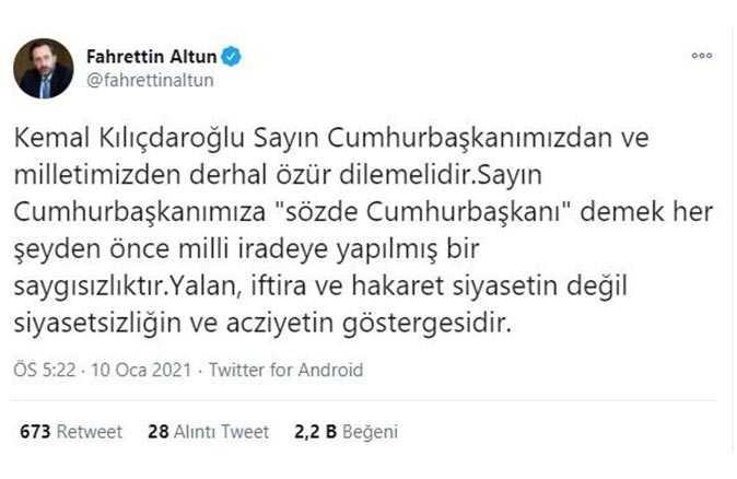 İletişim Başkanı Fahrettin Altun'un paylaşımı
