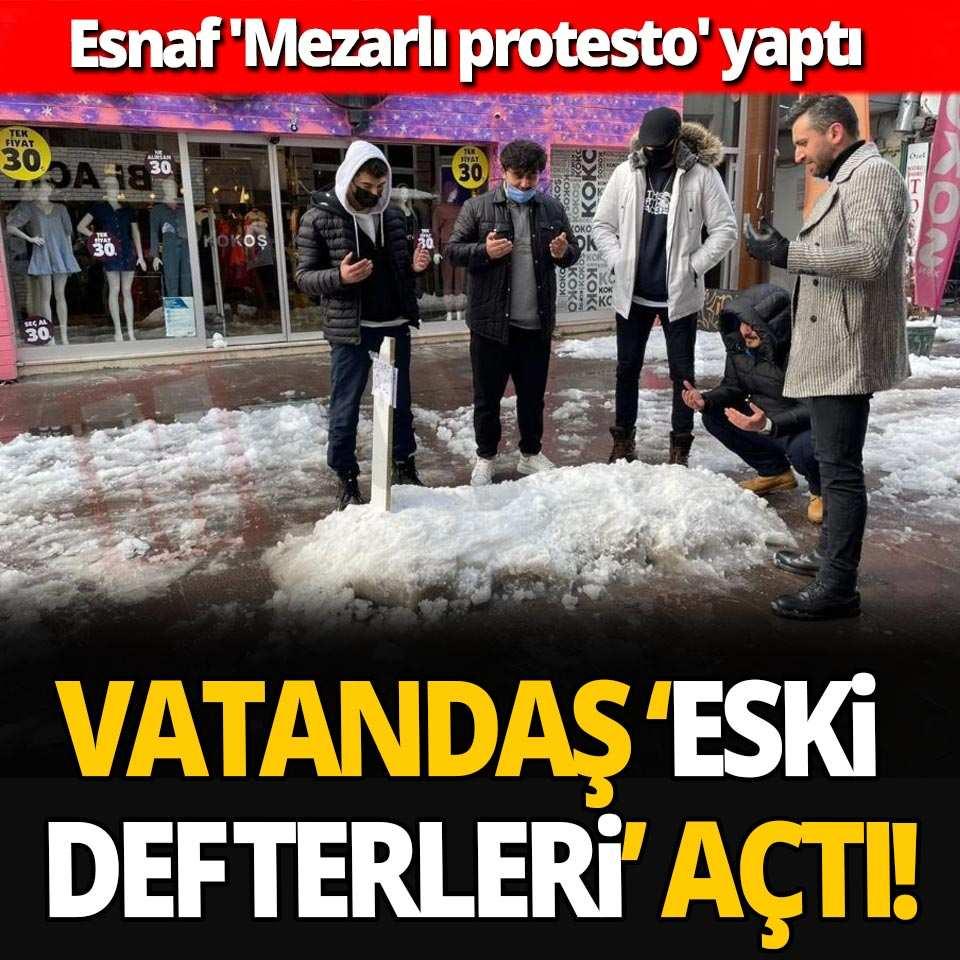 Esnaf 'Mezarlı protesto' yaptı