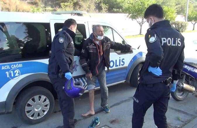 Manavgat'ta motosiklet sürücüsü polislere zor anlar yaşattı