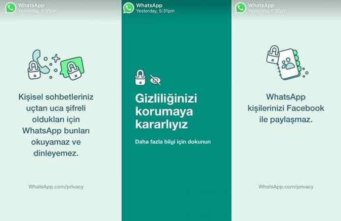 """Whatsapp, Türkiye'deki kullanıcılarına """"Gizliliğinizi korumaya kararlıyız"""" mesajı gönderdi"""