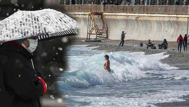 Yurtta kar, Antalya'da deniz keyfi