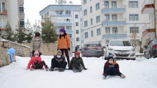 Çocukların tepsiyle kayak keyfi