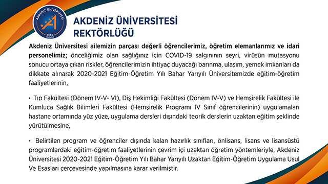 Akdeniz Üniversitesi'nden yüz yüze eğitim kararı