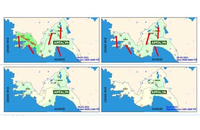 9 Şubat 2021 Salı Antalya hava durumu