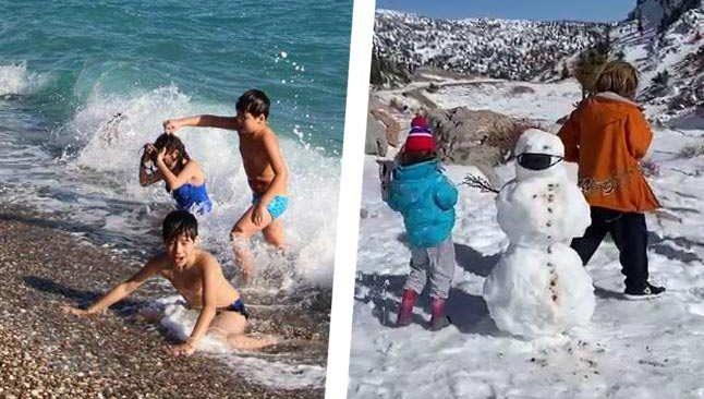 Toroslar'da kar, sahilde deniz keyfi