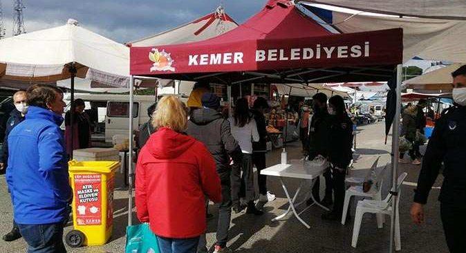 Kemer Belediyesi'nden pazarlarda sıkı tedbir