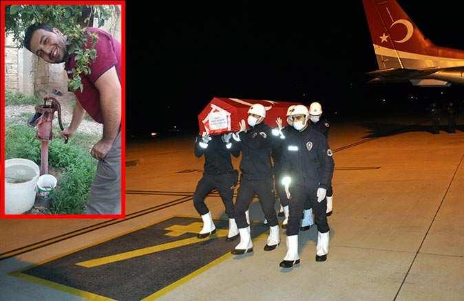 Polis memuru Sedat Yabalak'ın cenazesi Gazipaşa-Alanya Havalimanı'na getirildi