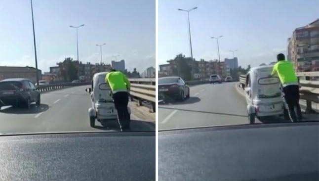 Trafik polisinden engelleri aşan hareket