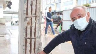 Rize'deki kentsel dönüşümde şoke eden görüntü: Taşıyıcı kolonları kaldırmışlar