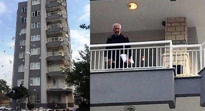 Eline ne geçtiyse balkondan aşağı attı