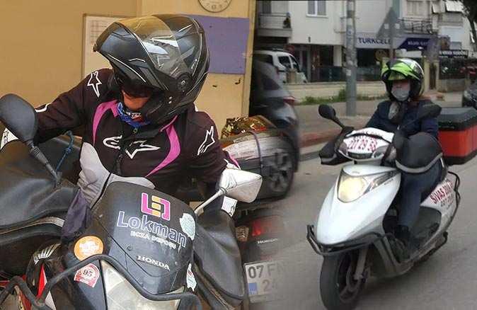Moto kuryelik yapan kadınlar trafikte rakip tanımıyor