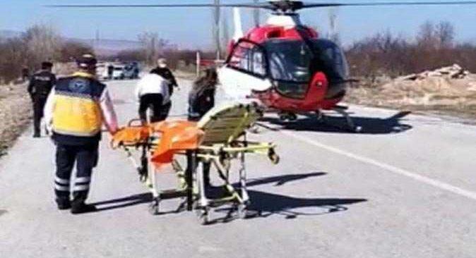 Hava ambulansı 92 yaşındaki adam için havalandı
