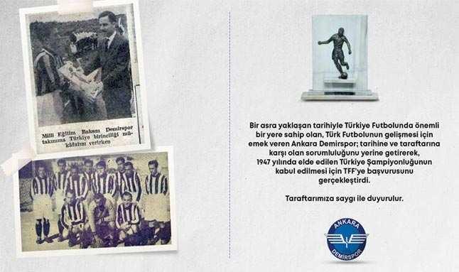 Son Dakika: Ankara Demirspor'dan TFF'ye 'şampiyonluk' başvurusu