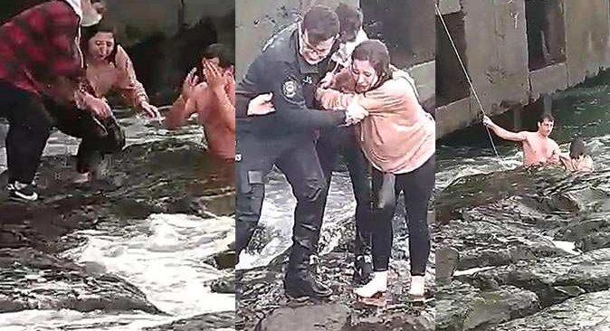 Denize düşen kızı bekçi kurtardı