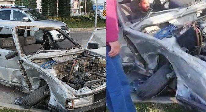 İhlal kazaya neden oldu! Sürücü otomobilde sıkıştı
