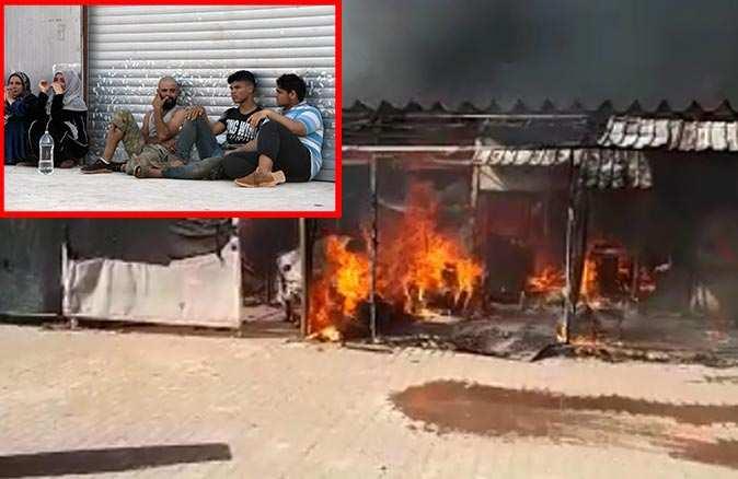 Antalya'da sera işçilerinin barakaları cayır cayır yandı