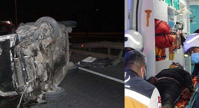 Otomobil köprü girişinde takla attı