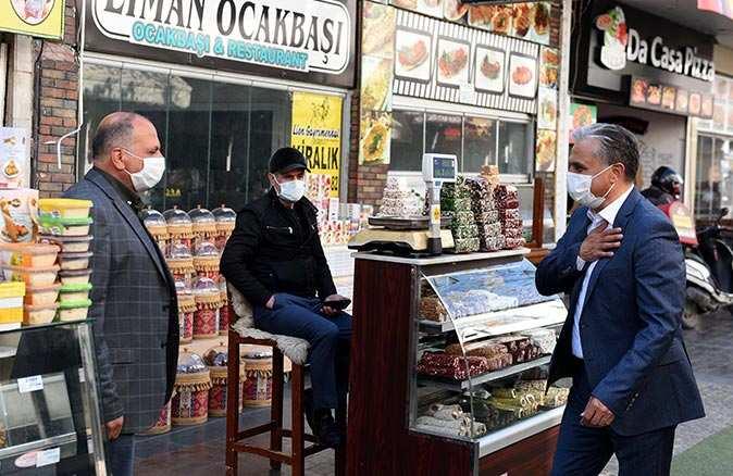 Başkan Ümit Uysal'dan esnafa ziyaret