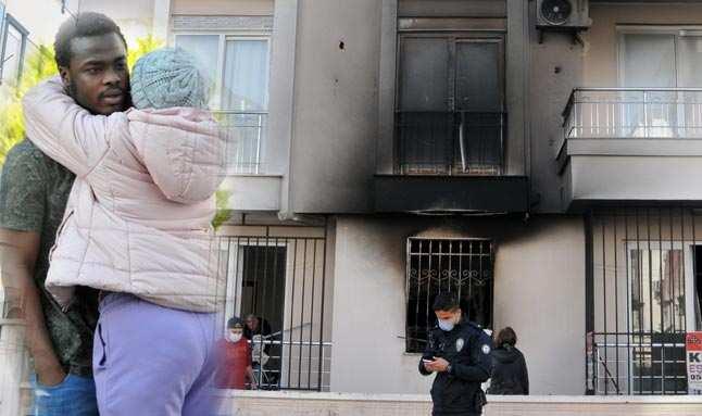 Antalya'da evi yanan Ganalı genci, kız arkadaşı teselli etti