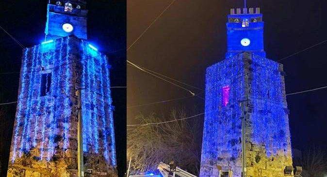 Saat Kulesi maviye büründü