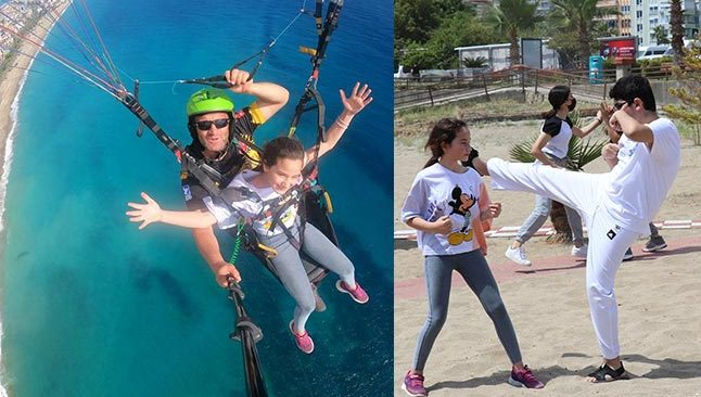 Antalya'da sporcular havada uçup, karada karate yaptı