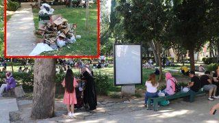 Antalya'da vatandaşlar cami bahçesini çöplüğe çevirdi